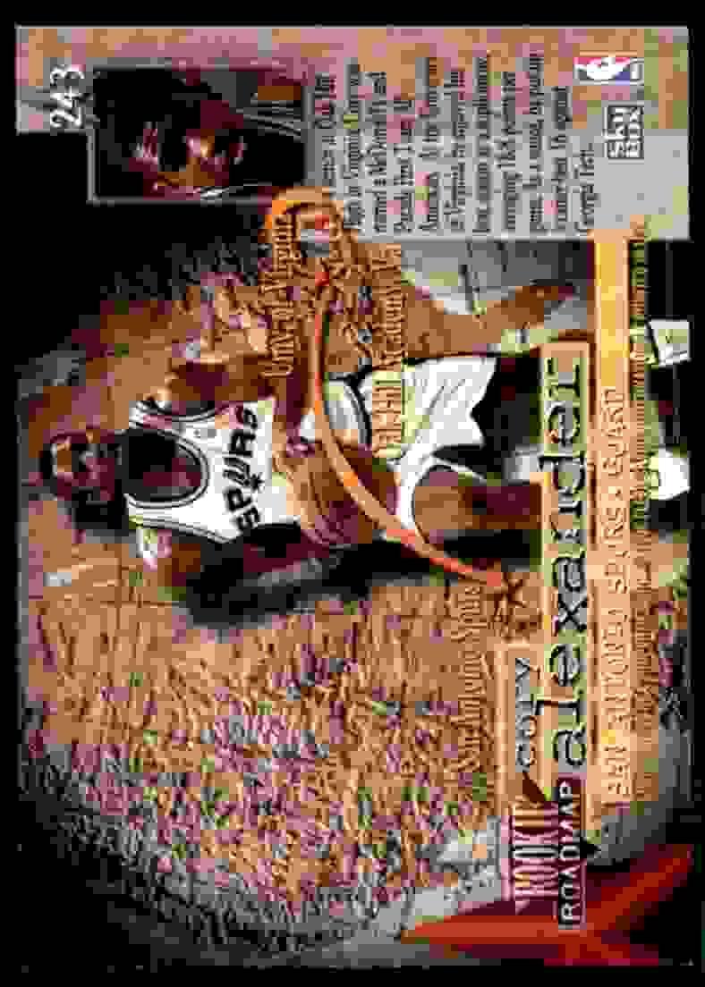 1995-96 Skybox Premium Cory Alexander RC #243 card back image
