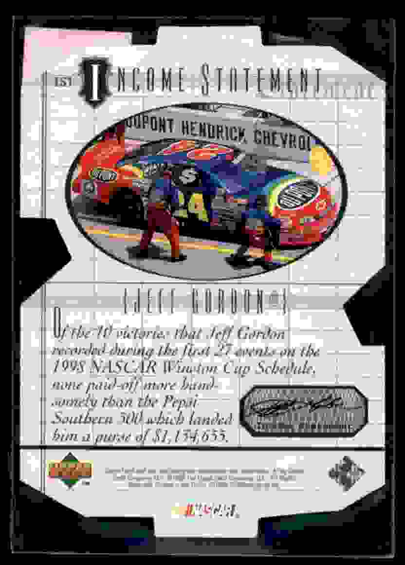 1999 Upper Deck Victory Circle Income Statement Jeff Gordon #IS1 card back image