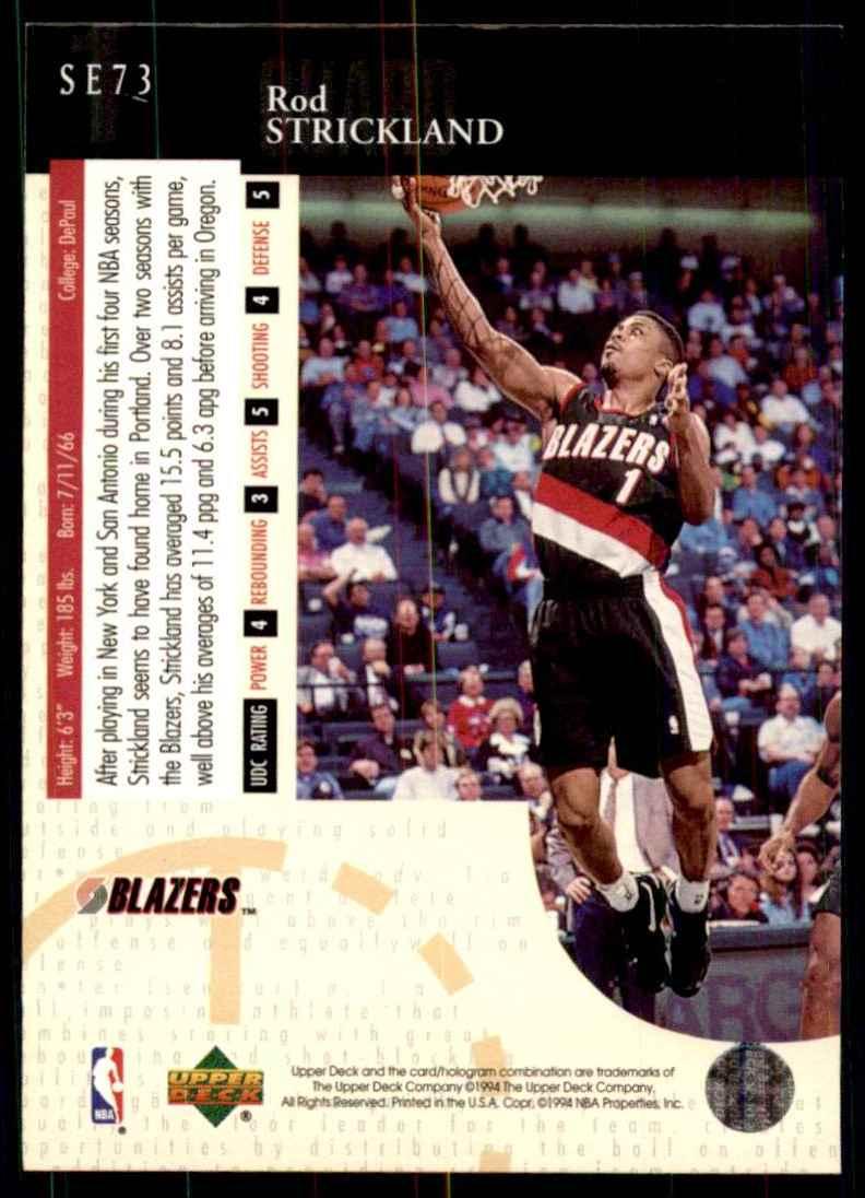 1994-95 Upper Deck Special Edition Rod Strickland #73 card back image