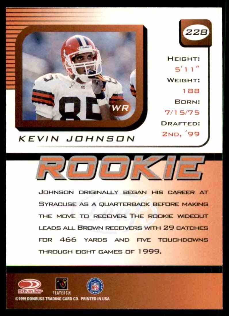1999 Leaf Rookies & Stars Kevin Johnson #228 card back image