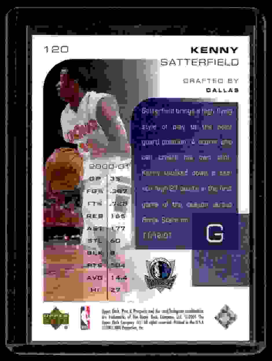 2001-02 Upper Deck Pros & Prospects Kenny Satterfield #120 card back image