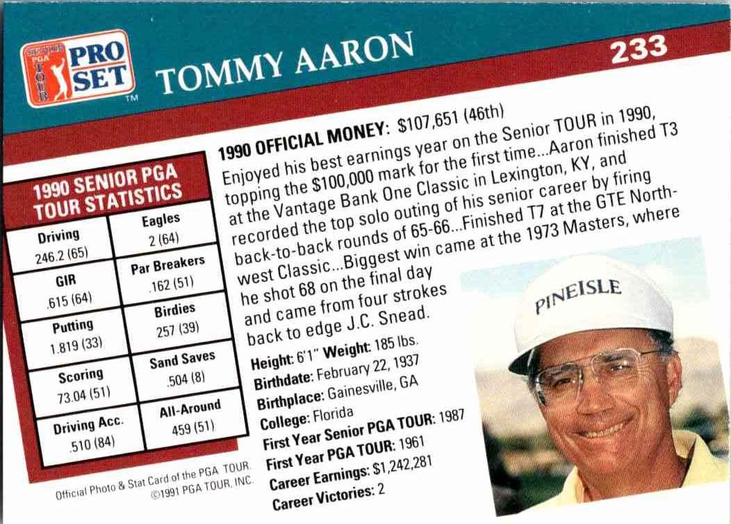 1991 Pro Set Tommy Aaron #233 card back image