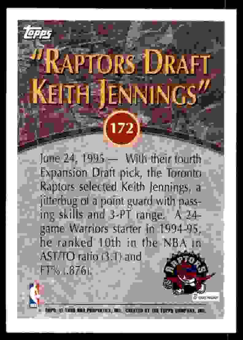 1995-96 Topps Keith Jennings #172 card back image