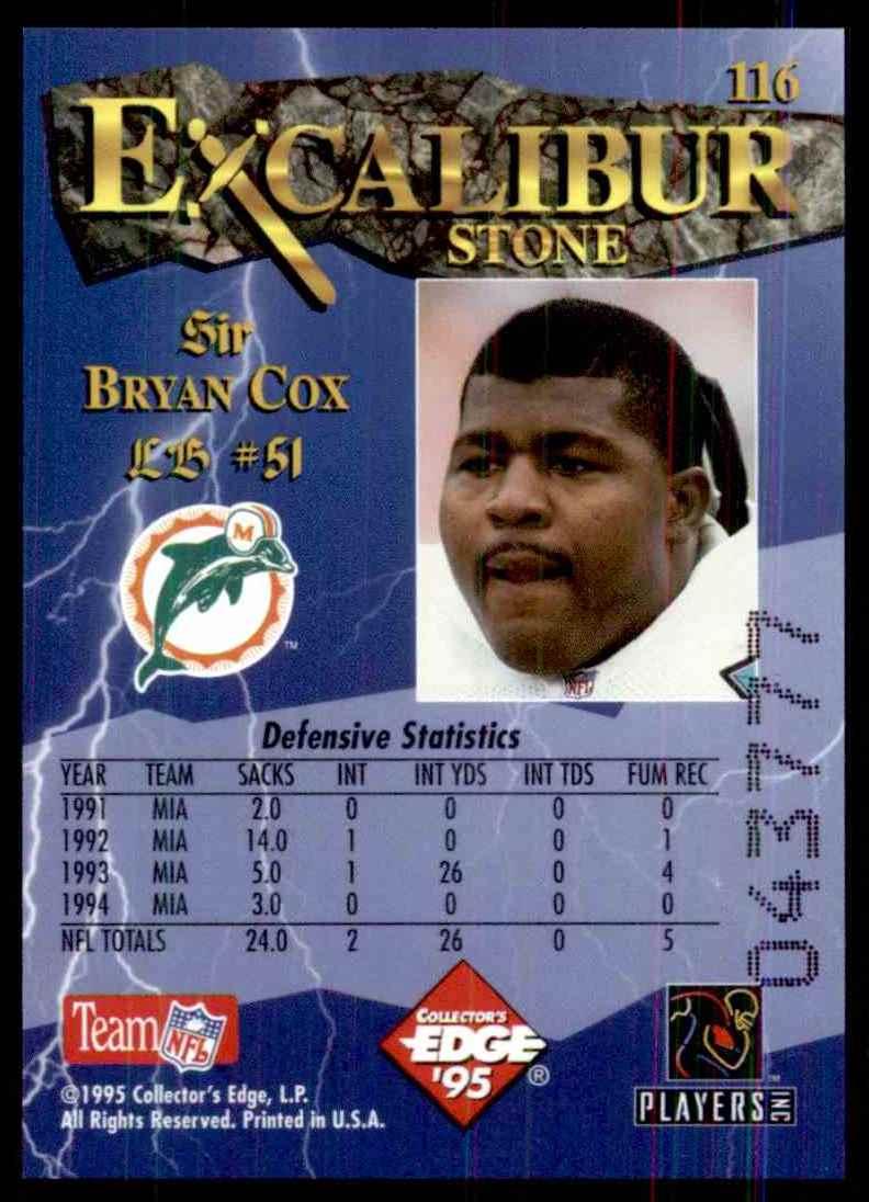 1995 Excalibur Bryan Cox #116 card back image