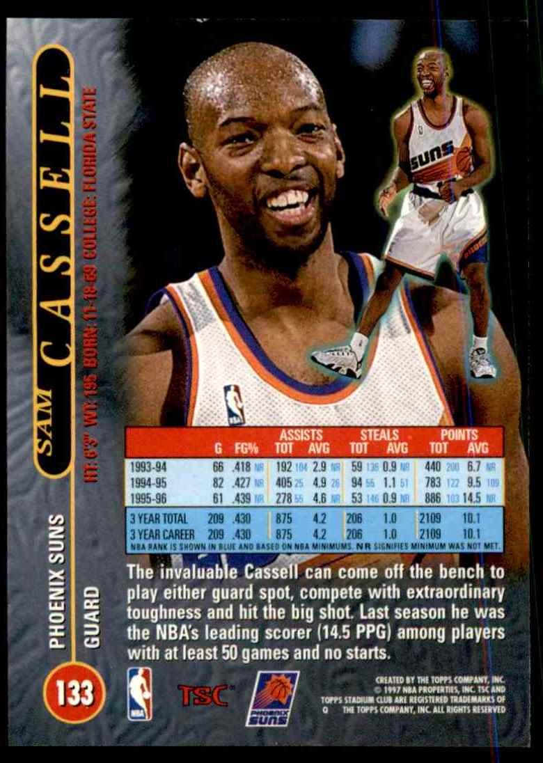 1996-97 Stadium Club Sam Cassell #133 card back image