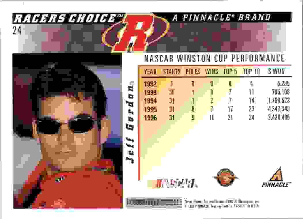 1997 Pinnacle Jeff Gordon #24 card back image