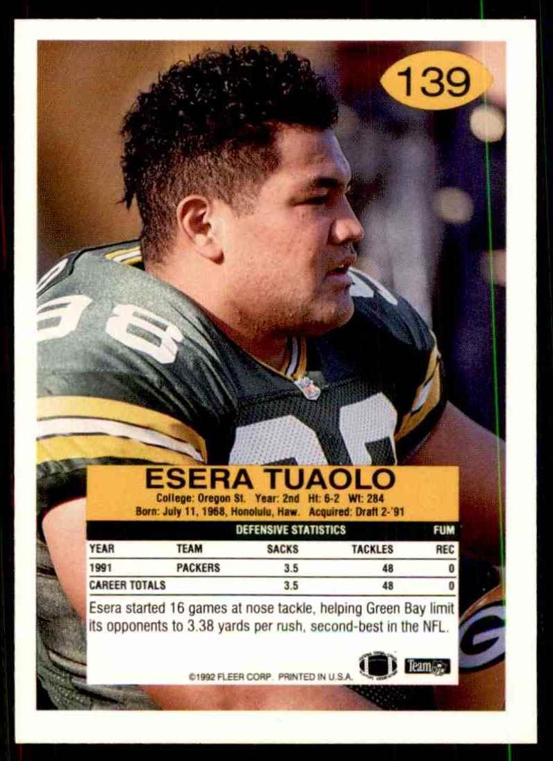1992 Fleer Esera Tuaolo #139 card back image