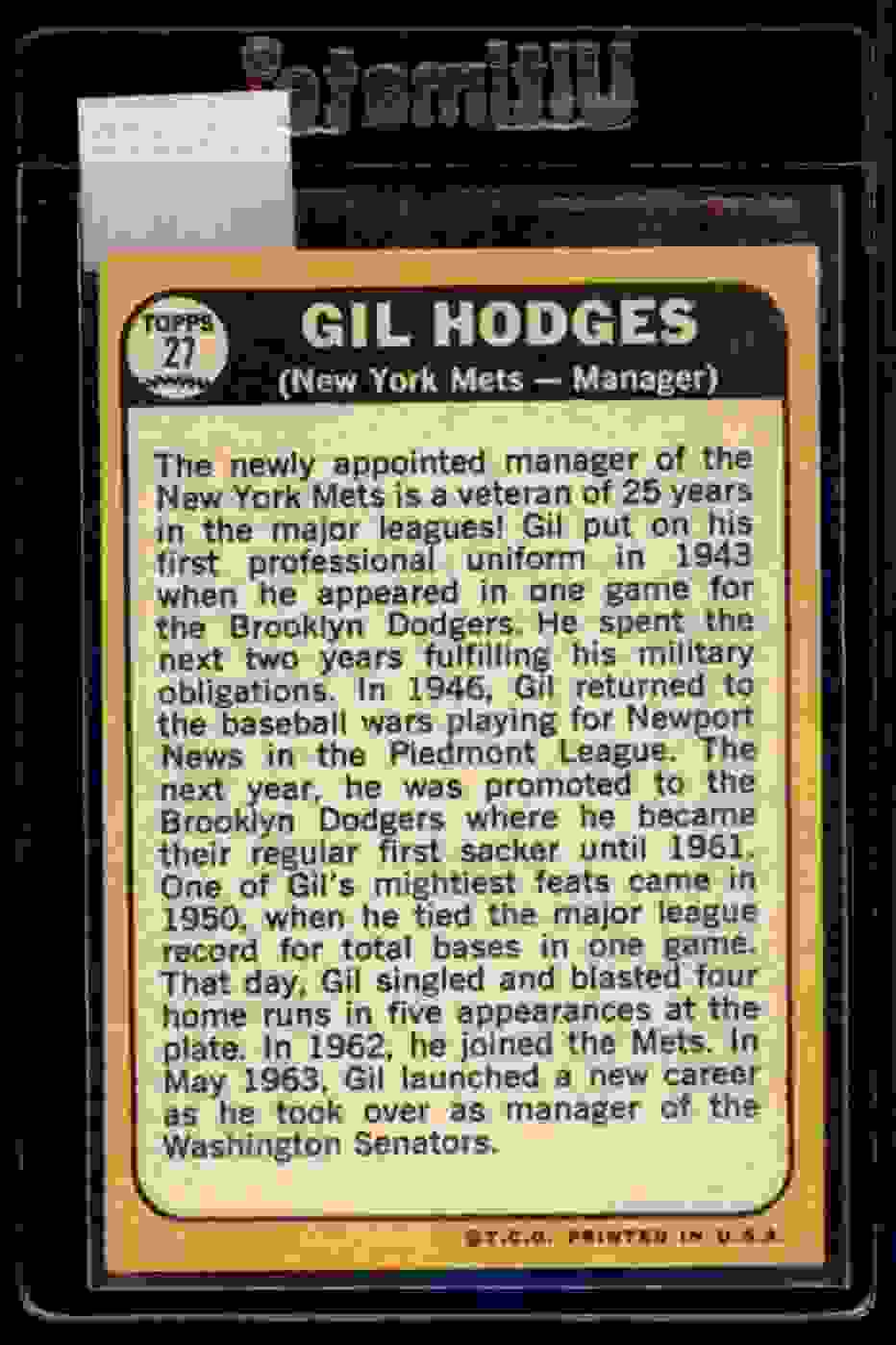 1968 Topps Gil Hodges #27 card back image