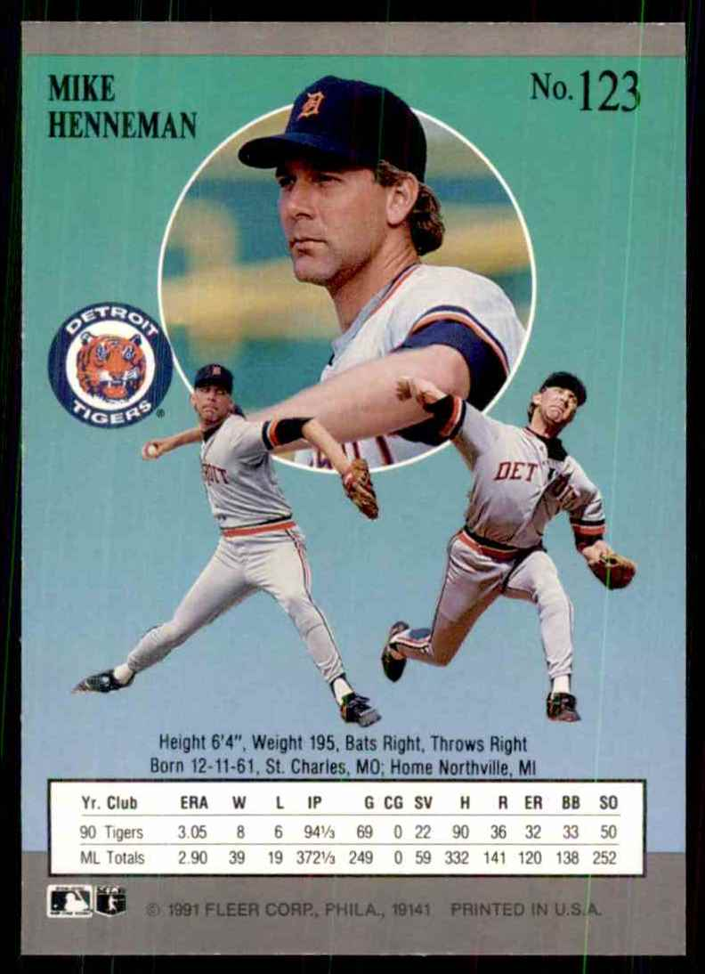 1991 Ultra Mike Henneman #123 card back image