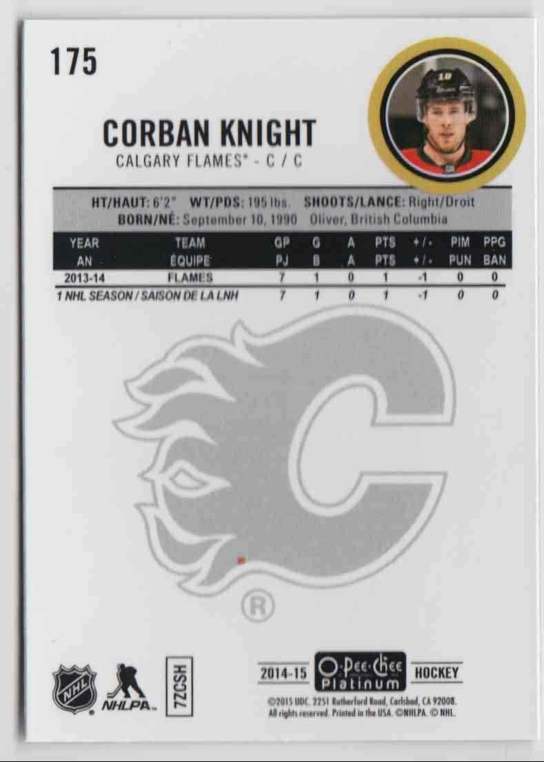 2014-15 O-Pee-Chee Platinum Rookie Corban Knight #175 card back image