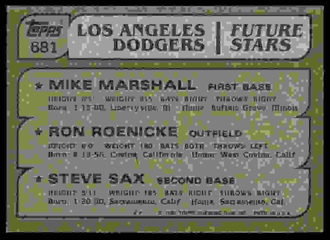 1982 Topps #681 Mike Marshall RC/Ron Roenicke RC/Steve Sax RC Los Angeles #681 card back image