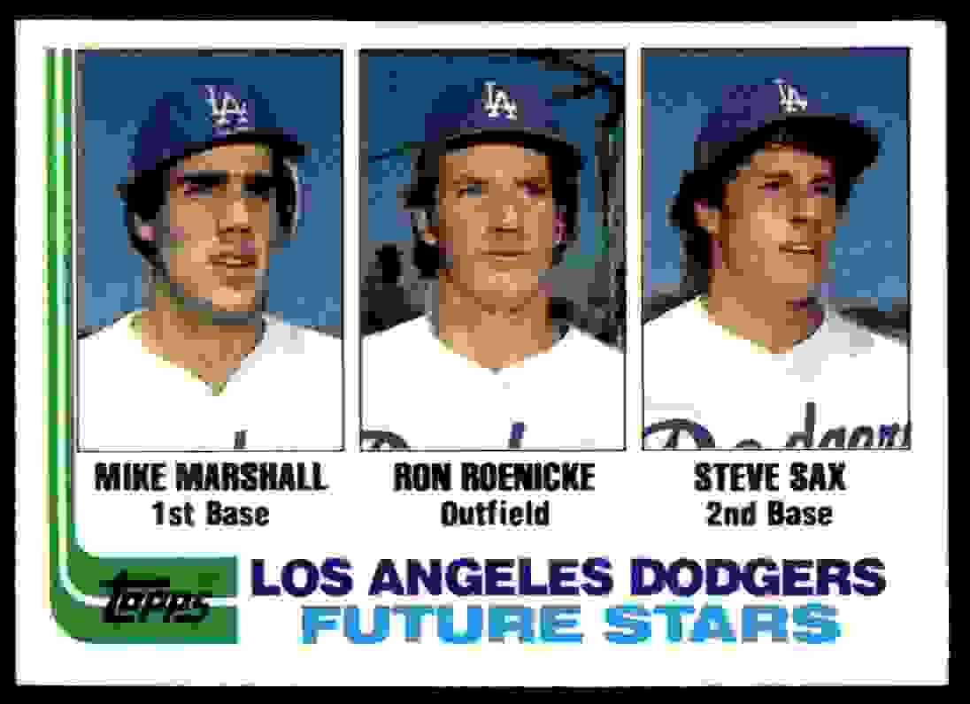 1982 Topps #681 Mike Marshall RC/Ron Roenicke RC/Steve Sax RC Los Angeles #681 card front image