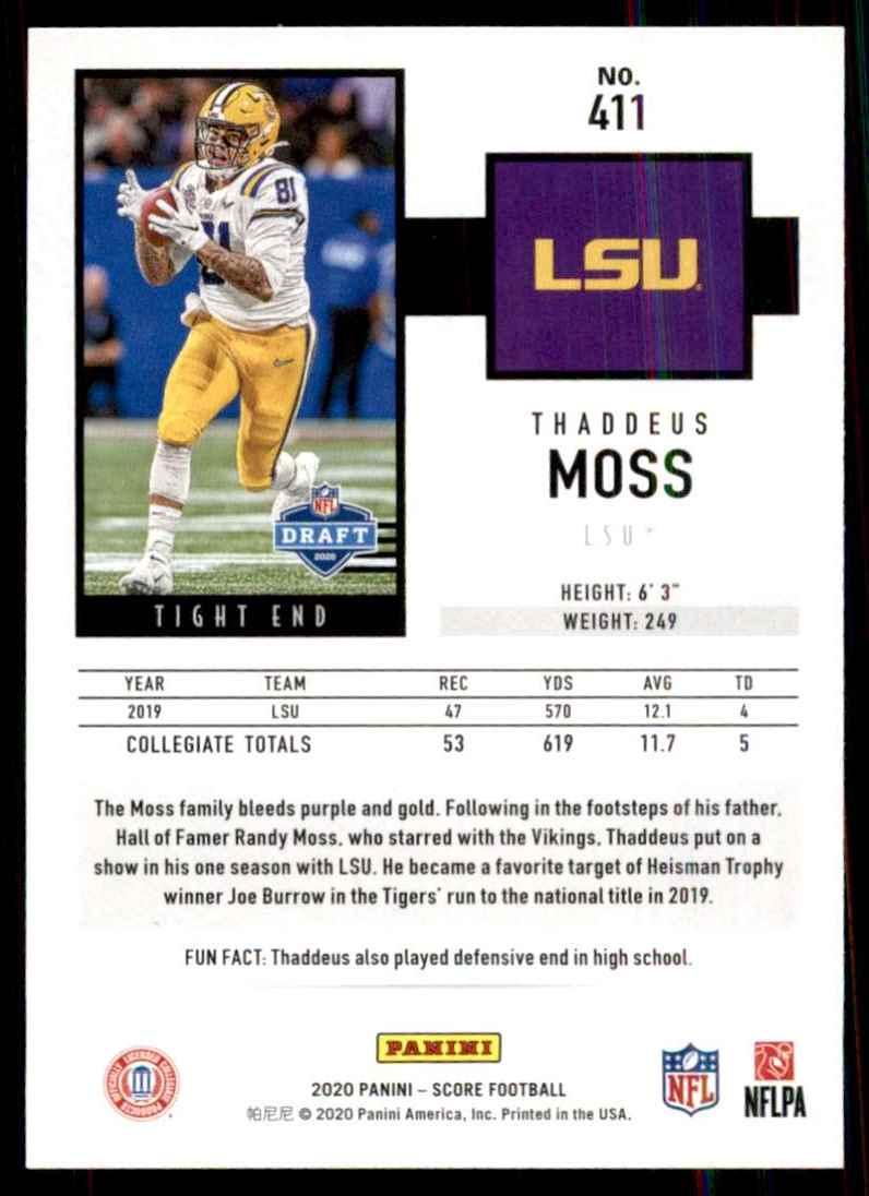 2020 Score Thaddeus Moss RC #411 card back image