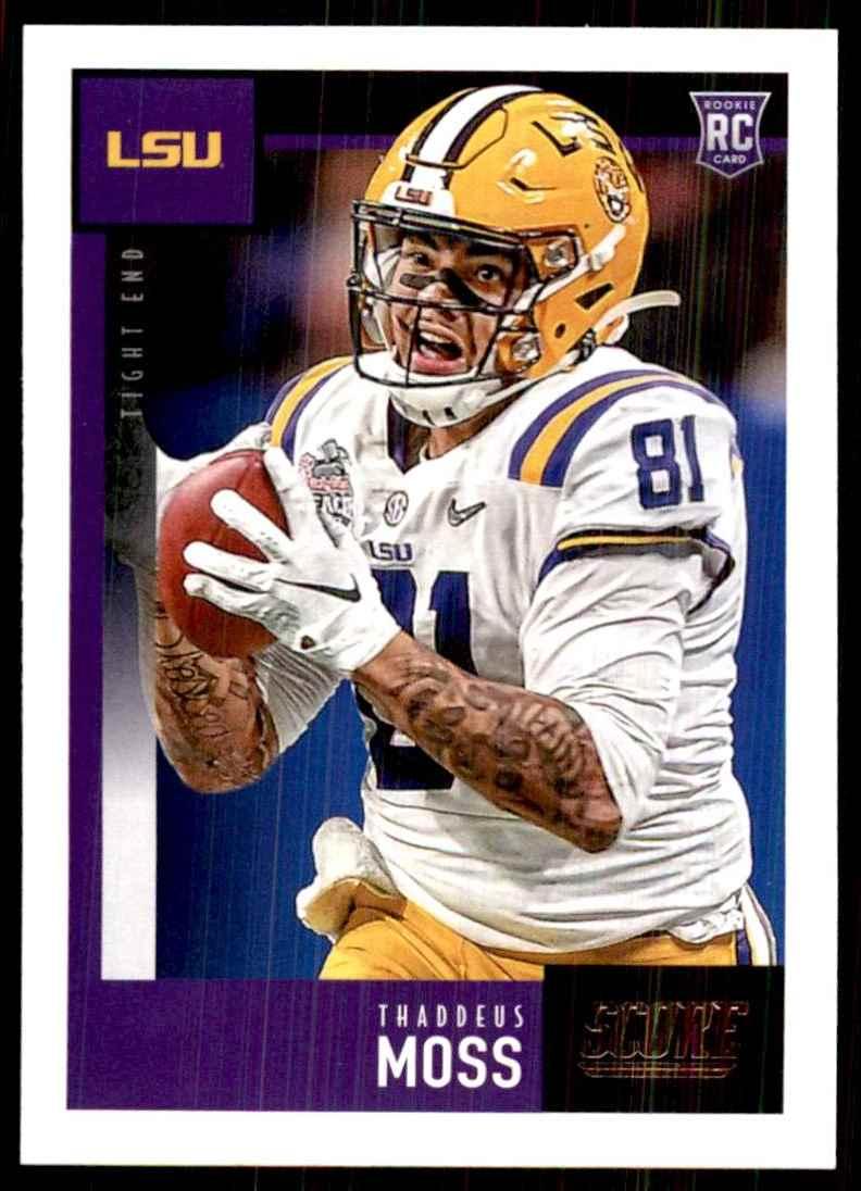 2020 Score Thaddeus Moss RC #411 card front image
