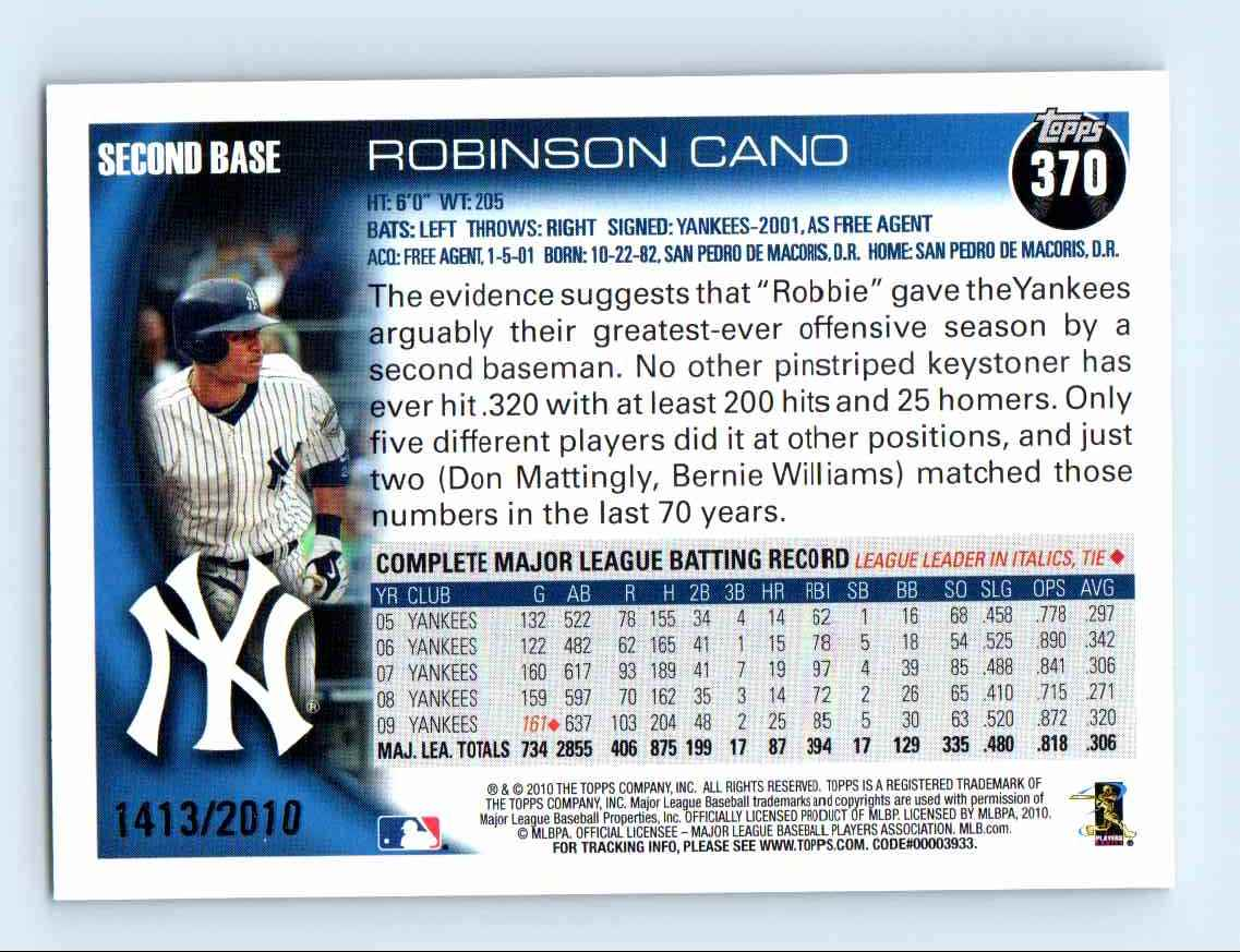 2010 Topps Gold Border Robinson Cano #370 card back image