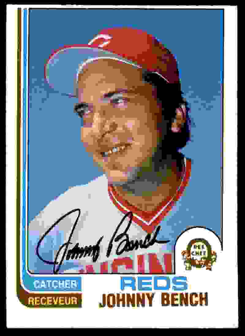 1982 O-Pee-Chee Johnny Bench #18 card front image