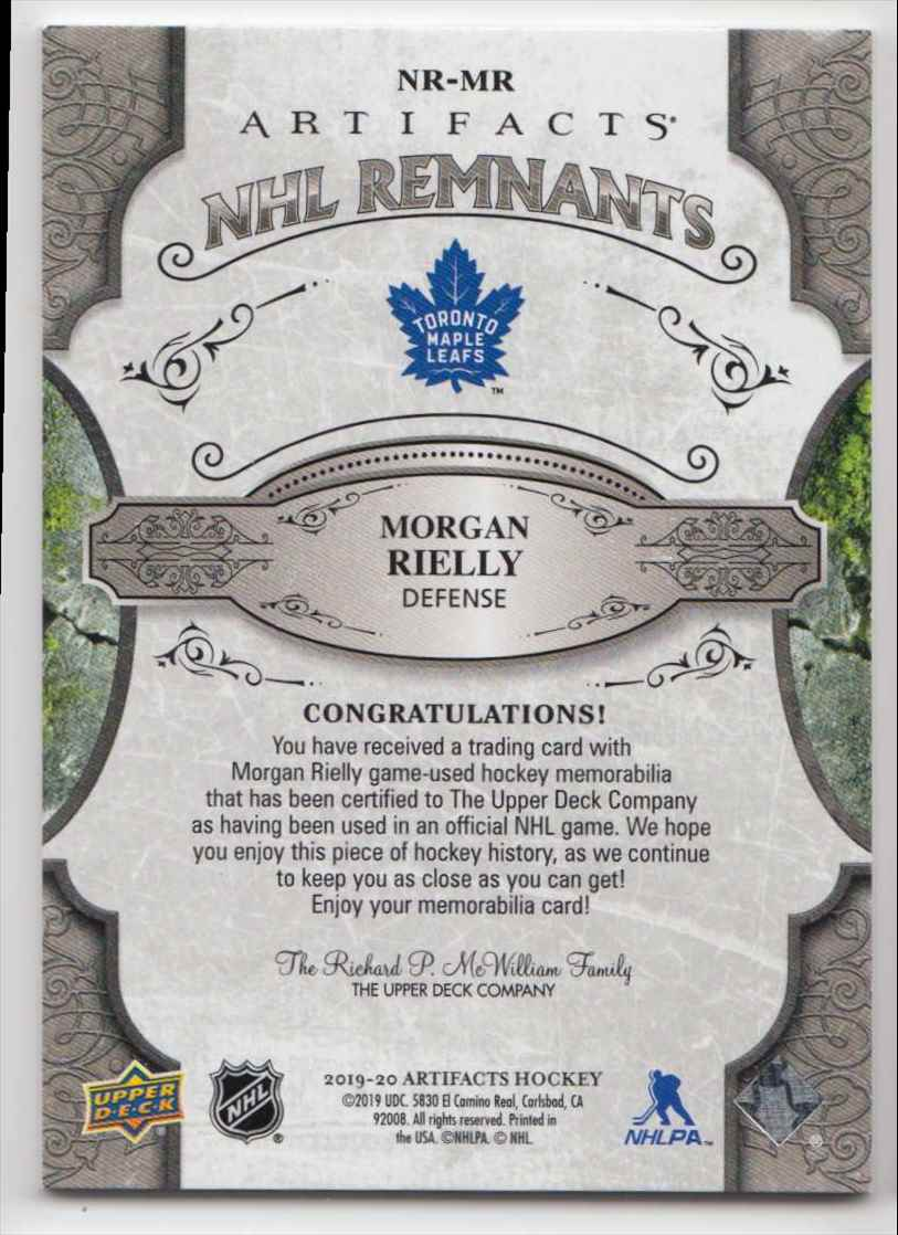 2019-20 Artifacts NHL Remnants Morgan Reilly #NR-MR card back image