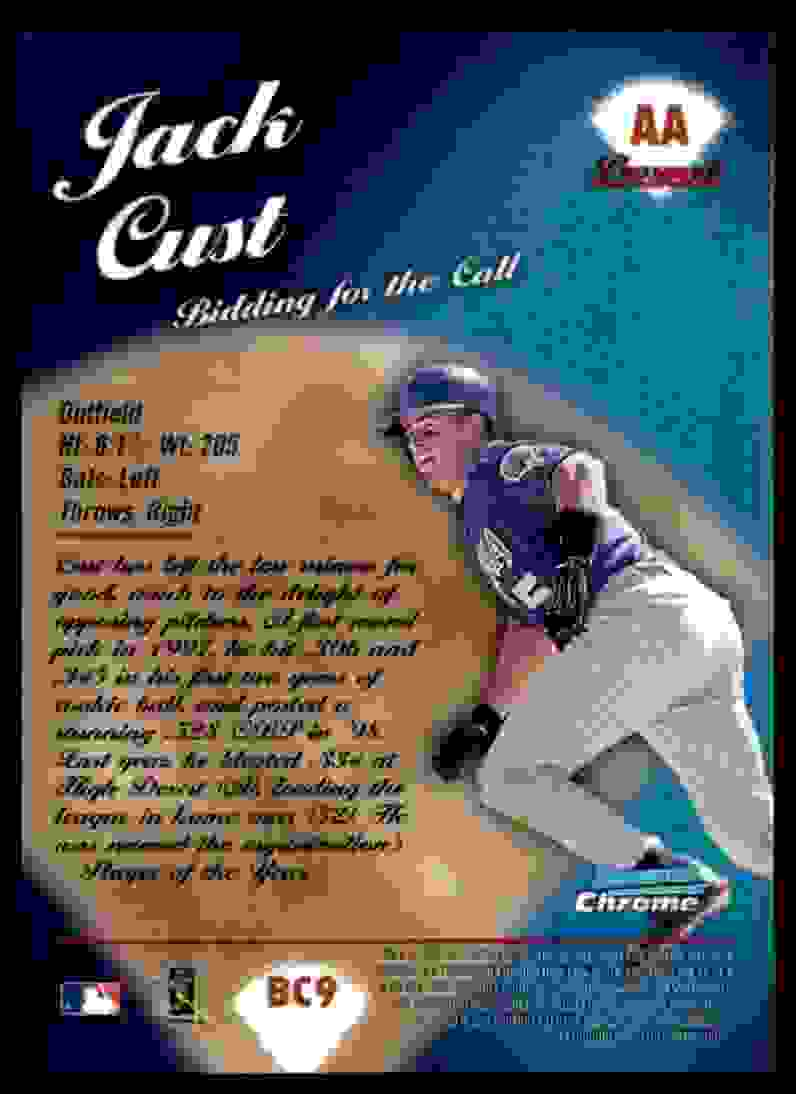 2000 Bowman Chrome Bidding For The Call Jack Cust #BC9 card back image