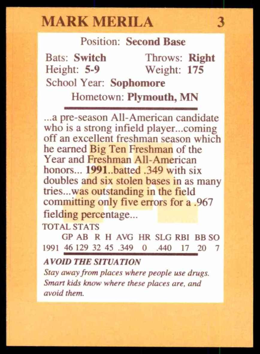 1992 Quaker Oats Minnesota Golden Gophers Mark Merila #3 card back image