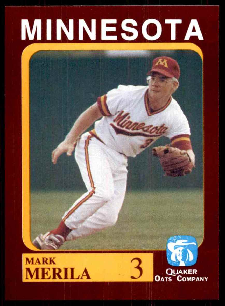 1992 Quaker Oats Minnesota Golden Gophers Mark Merila #3 card front image