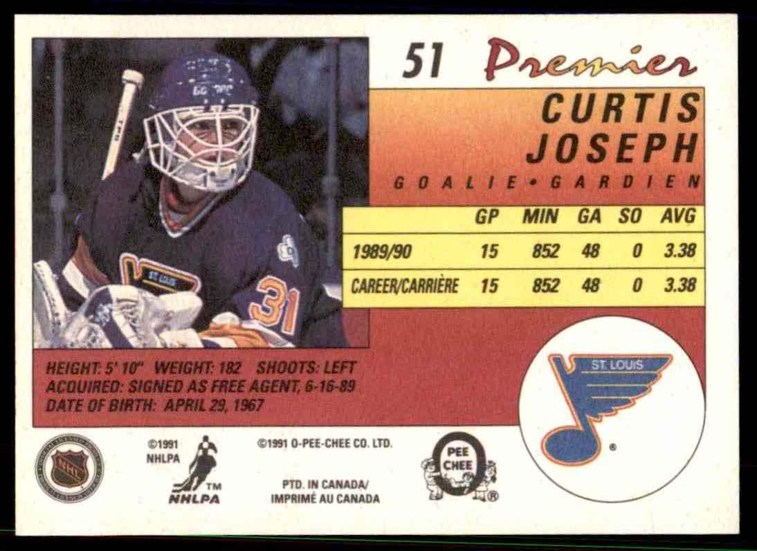 1990-91 O-Pee-Chee Premier ! Curtis Joseph #51 card back image