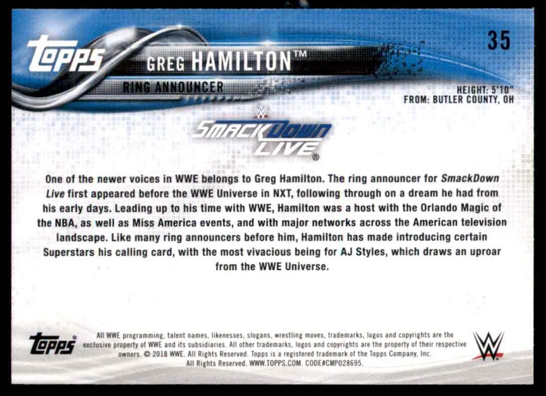 2018 Topps Wwe Bronze Greg Hamilton #35 card back image