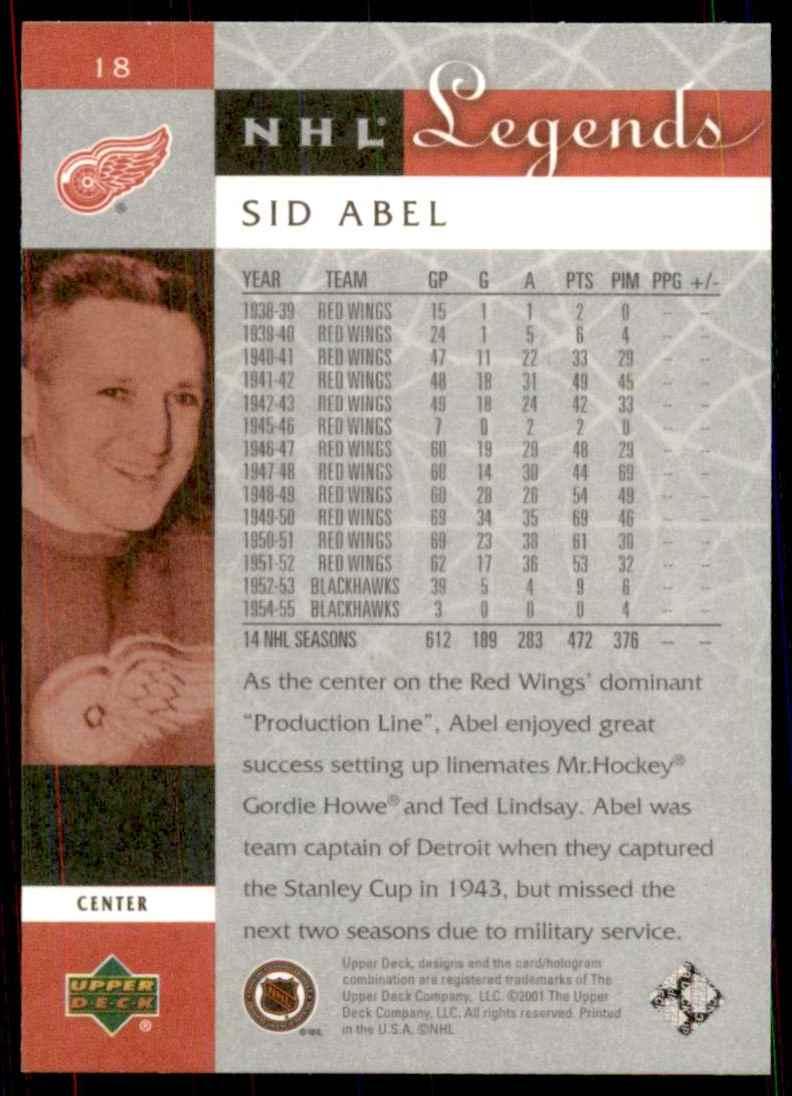 2001-02 Upper Deck Legends Sid Abel #18 card back image