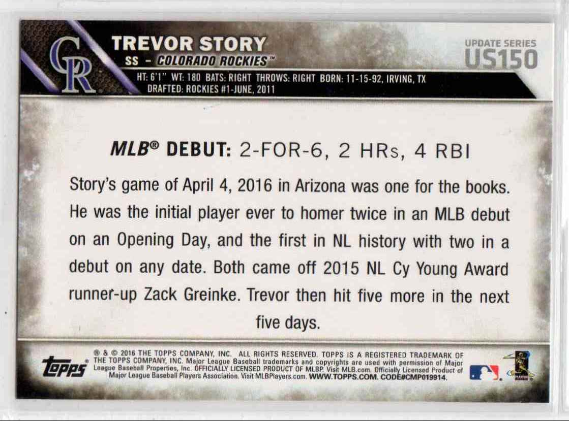 2016 Topps Update Trevor Story RD #US150 card back image