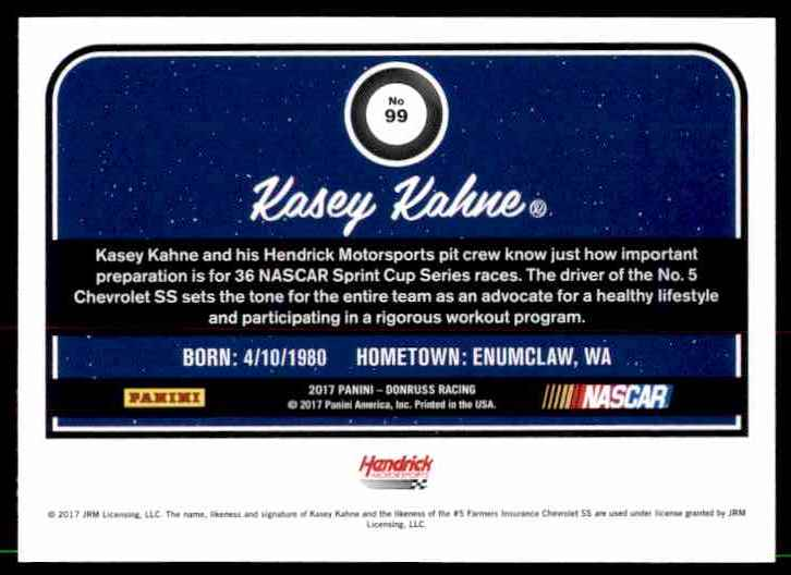 2017 Donruss Kasey Kahne #99 card back image