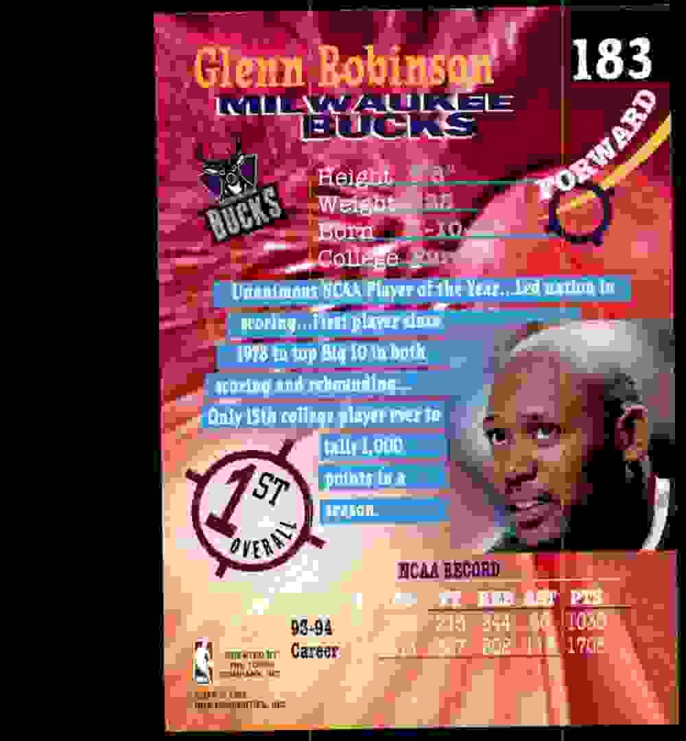 1994-95 Stadium Club Glenn Robinson RC #183 card back image