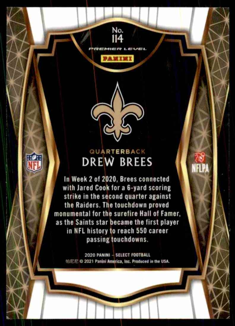 2020 Select Drew Brees #114 card back image