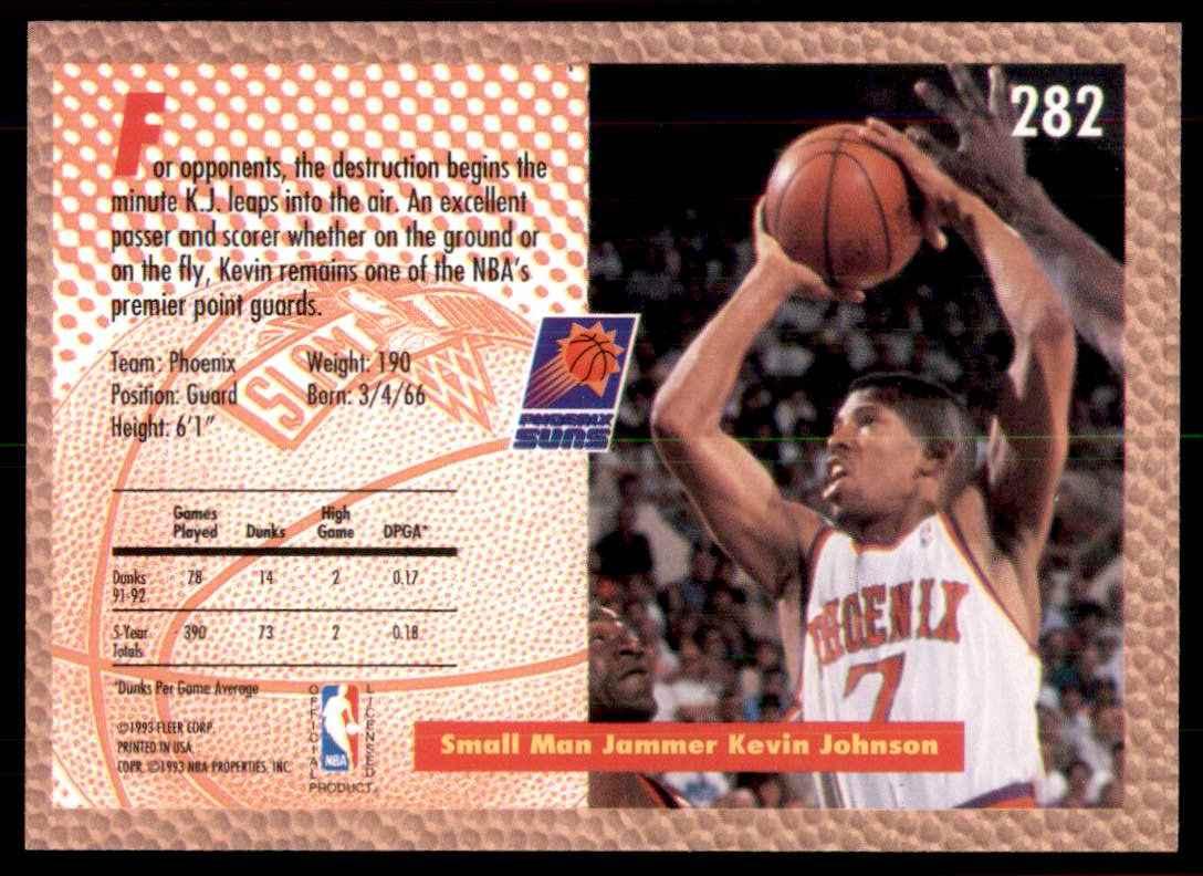 1992-93 Fleer Kevin Johnson #282 card back image