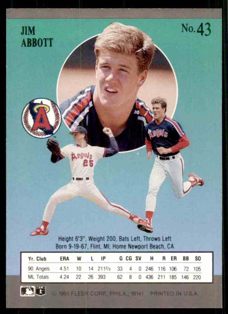 1991 Ultra Jim Abbott #43 card back image
