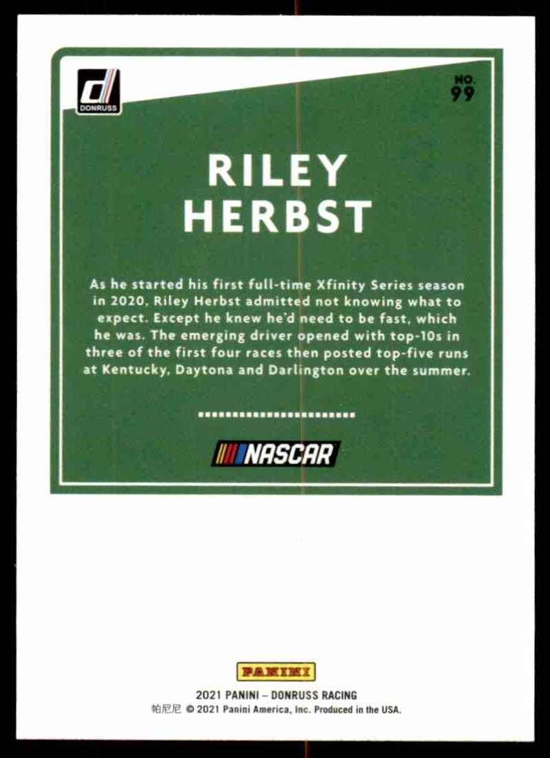 2021 Donruss Riley Herbst #99 card back image