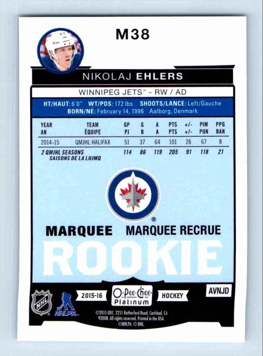 2015-16 O-Pee-Chee Platinum Marquee Rookie Nikolaj Ehlers #M38 card back image