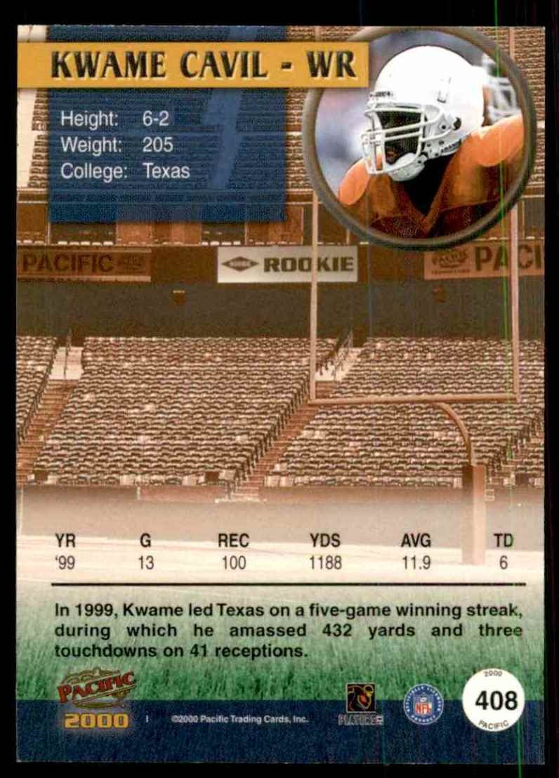 2000 Pacific Kwame Cavil #408 card back image