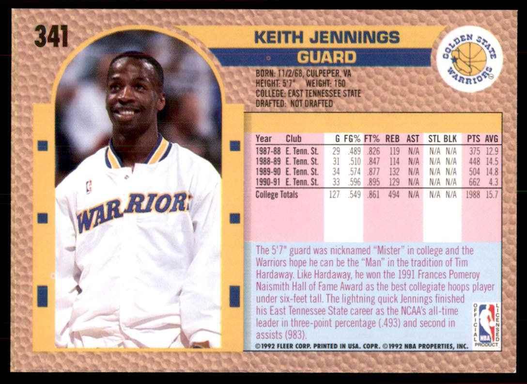 1992-93 Fleer Keith Jennings #341 card back image