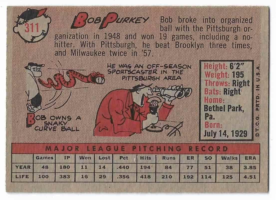 1958 Topps Bob Purkey #311 card back image