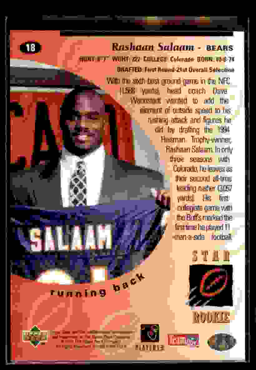1995 Upper Deck Rashaan Salaam #18 card back image