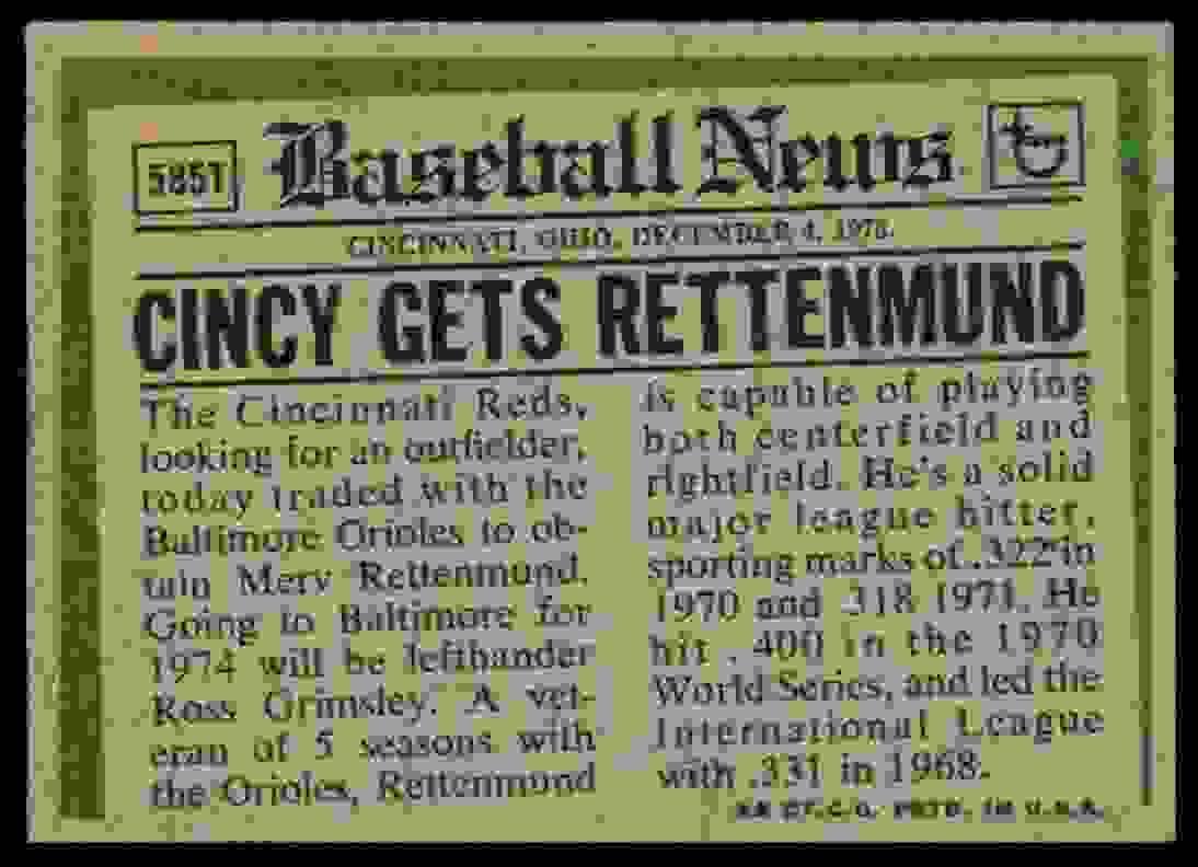 1974 Topps Traded * Merv Rettenmund #585T card back image