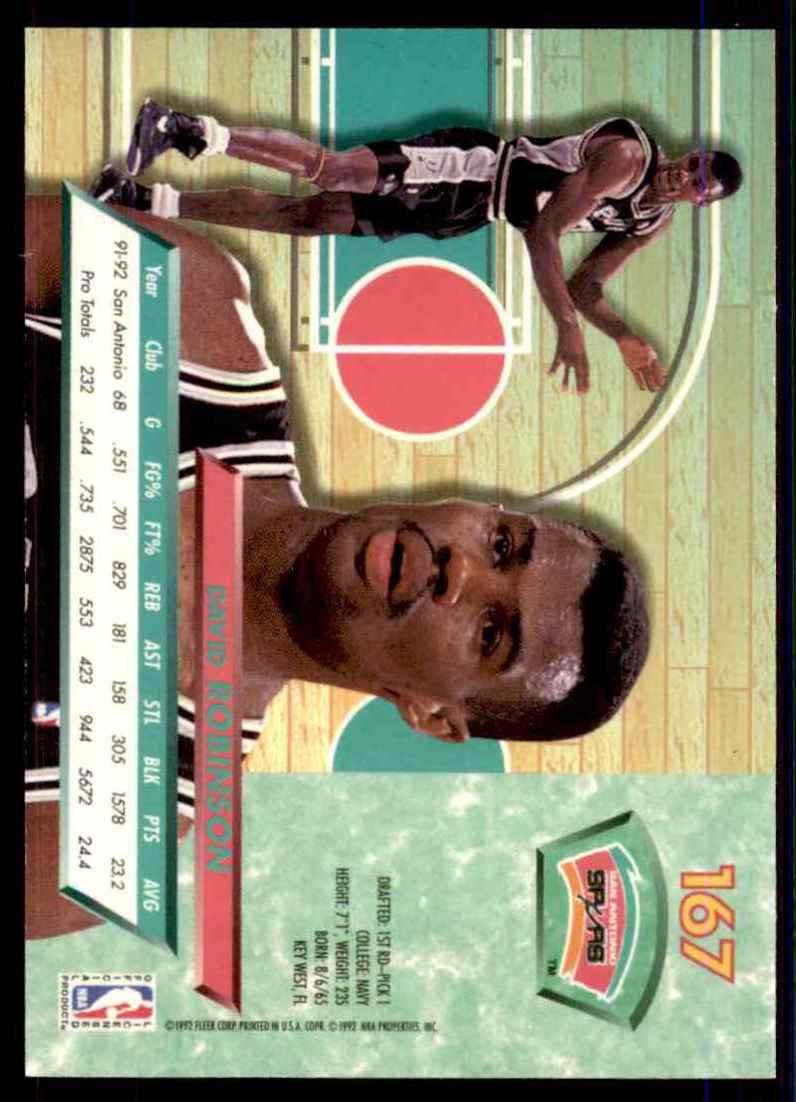 1992-93 Ultra David Robinson #167 card back image