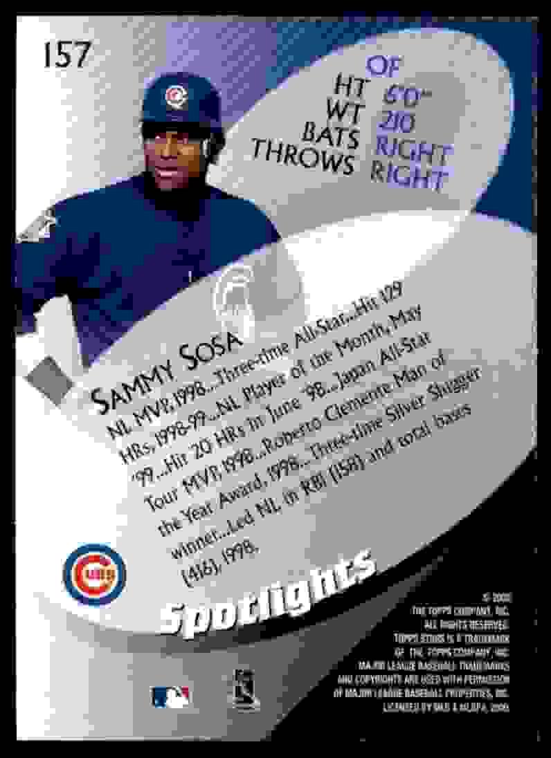2000 Topps Stars Sammy Sosa #157 card back image