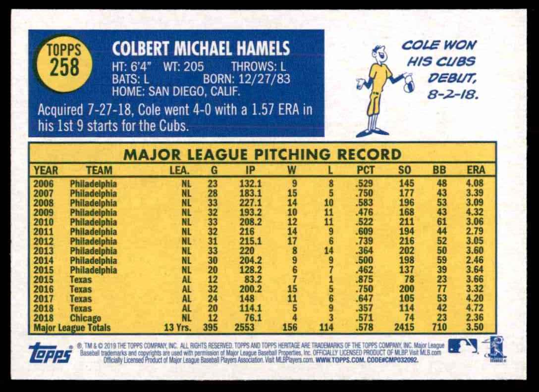 2019 Topps Heritage Cole Hamels #258 card back image