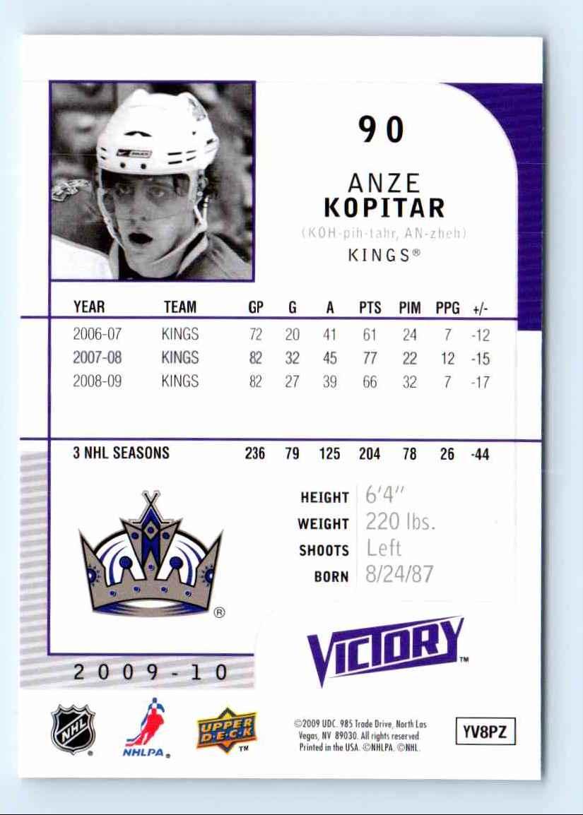 2009-10 Upper Deck Victory Anze Kopitar #90 card back image