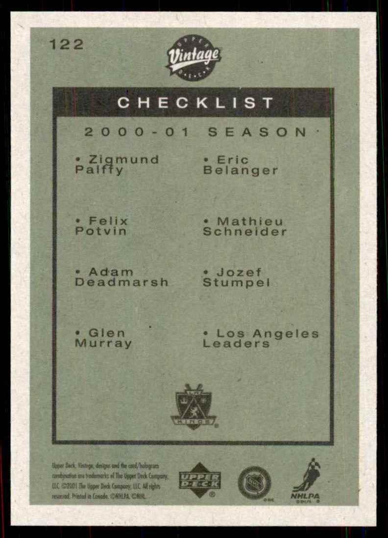 2001-02 Upper Deck Vintage Kings CL/Felix Potvin/Zigmund Palffy/Adam Deadmarsh/Jozef Stumpel #122 card back image