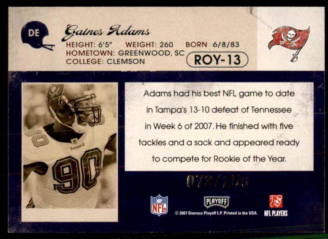 2007 Playoff Contenders Roy Contenders Gold Holofoil Gaines Adams #13 card back image