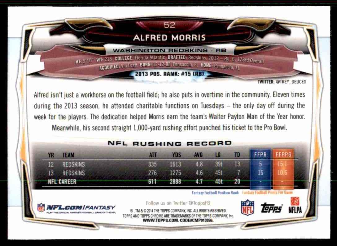 2014 Topps Chrome Refractors Alfred Morris #52 card back image