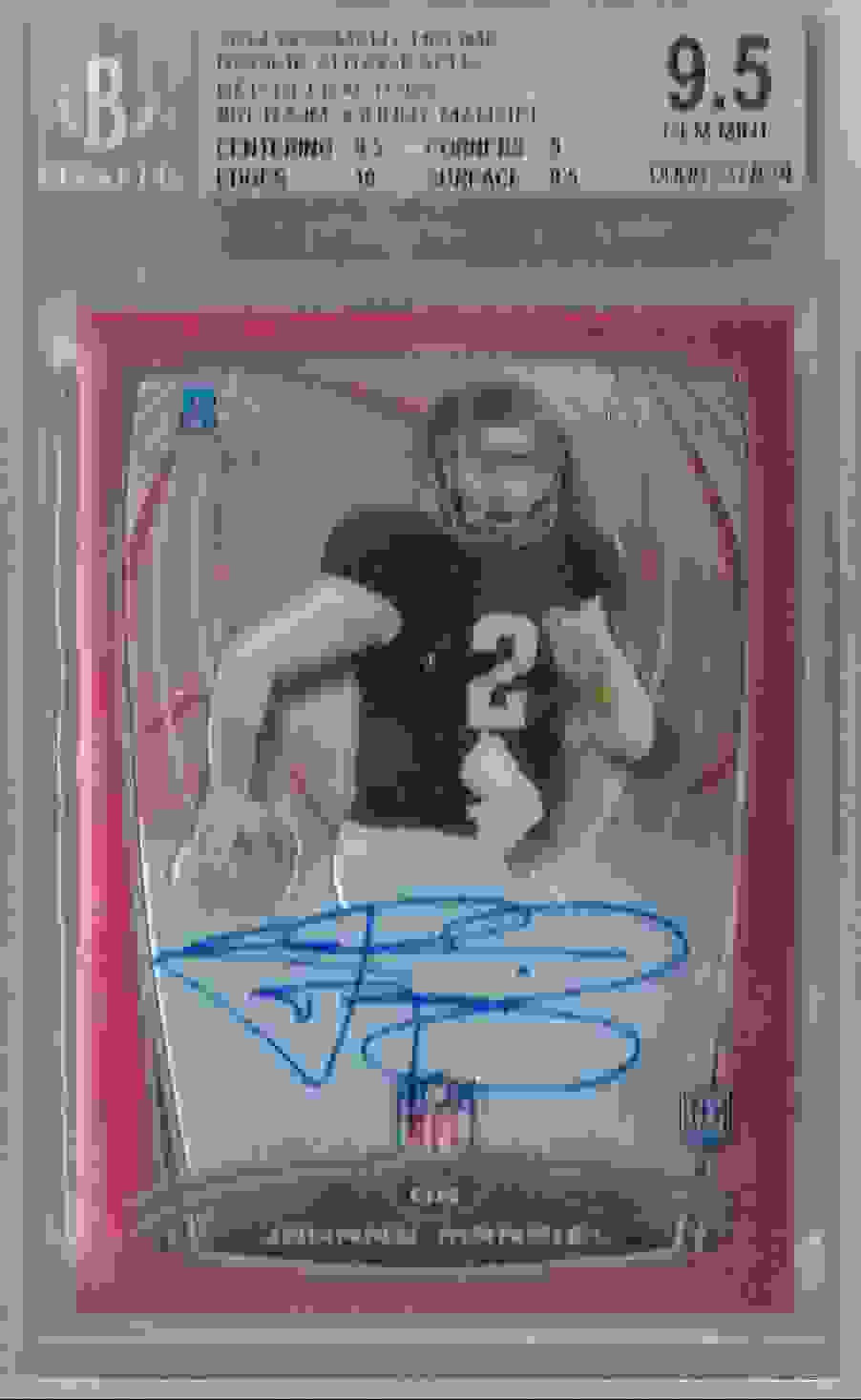 2014 Bowman Chrome Rookie Autographs Red Refractors Johnny Manziel #12 card front image