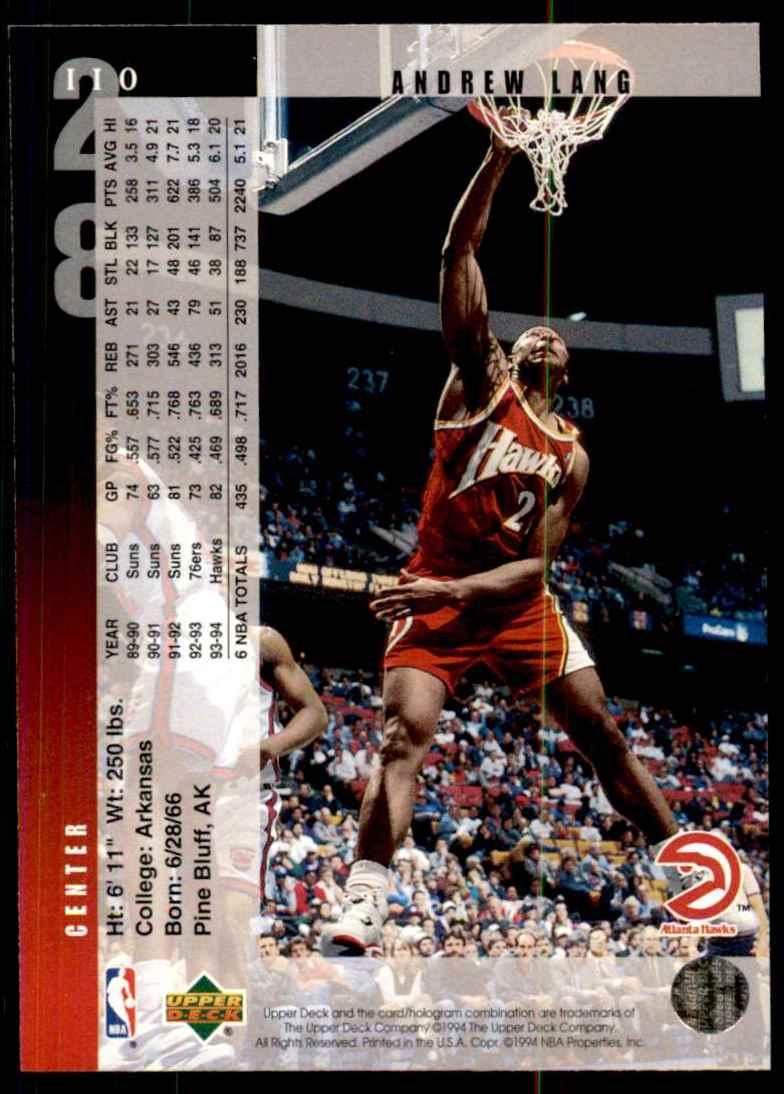 1994-95 Upper Deck Andrew Lang #110 card back image