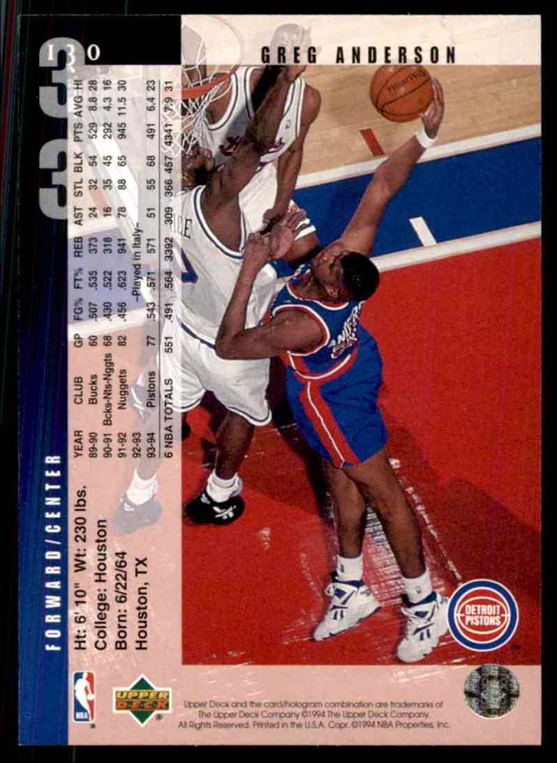 1994-95 Upper Deck Greg Anderson #130 card back image